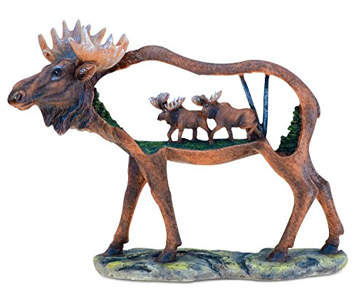 - Puzzled COTA Global Elegant Dual Moose Animal Figure The Wild Wooden Like Slice Decor Collection Wildlife Miniature Resin Handcrafted Hand-Painted Faux Wood Figurine Home Accent Accessories 8.5 Inch