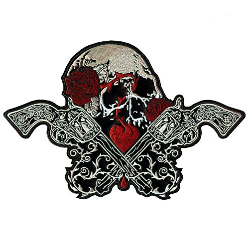 Faux Leather Tattoo (SKULL PATCH GUNS ROSES HEART TATTOO STYLE EMBROIDERED FAUX LEATHER LARGE SIZE 12