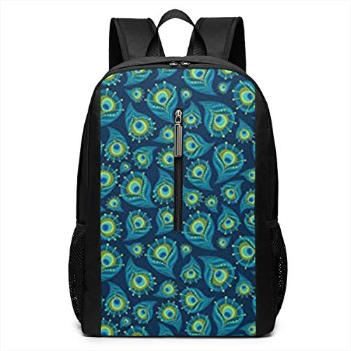Peacock Feather Iconic Campus Backpack,Casual Daypack Backpacks 17 Inch