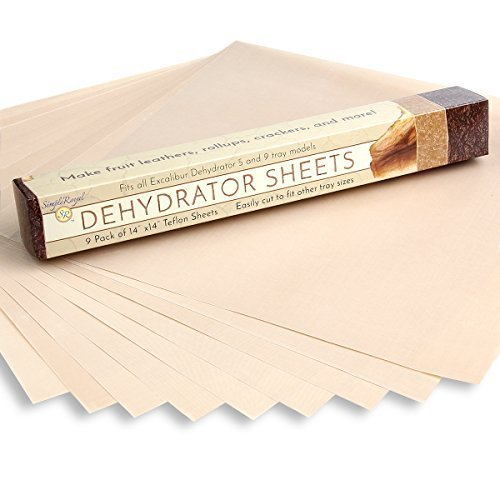 FoodDehydrator Sheets Pack Of 9 For Excalibur DehydratorsBy Simple Royal: 14x14 Non-Stick TeflonReusable Parchment Paper, Fits Excalibur 2500,3500,2900Or 3900, Used As A Cookie Sheet, Oven - With Plastic Sunglasses Lines