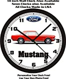 mustang car clock - 1966 FORD MUSTANG COUPE WALL CLOCK-FREE USA SHIP!