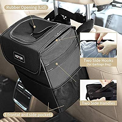 HOTOR Car Trash Can with Lid and Storage Pockets, 100% Leak-Proof Car Organizer, Waterproof Car Garbage Can, Multipurpose Trash Bin for Car - Black: Automotive