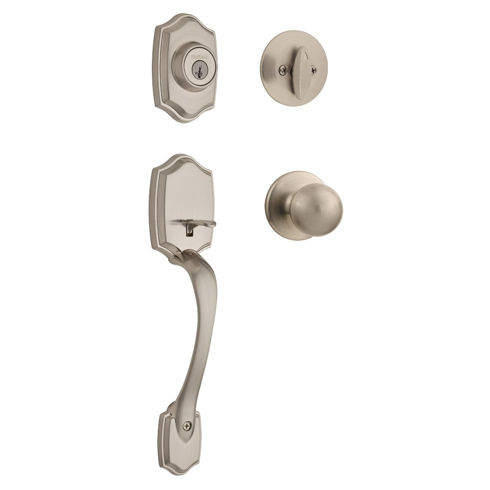 Kwikset 96870-099 Belleview Single Cylinder Handleset With Polo Knob featuring SmartKey Security in Satin Nickel