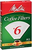Melitta Cone Coffee Filters, White, No. 6, 40-Count Filters (Pack of 12)