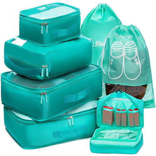 Packing Cubes Travel Set 7Pc 2 Large Cube Organizer Laundry Shoe & Toiletry Bag from Free Rhythm