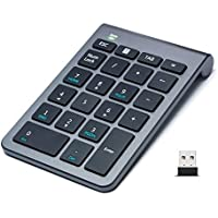 2.4G Wireless Numeric Keypad 22 Keys, Trendy Wag, Multi-Function Number Pad Keyboard with Mini USB Receiver for Laptop/Desktop/PCs/Notebook (Cool Gray)