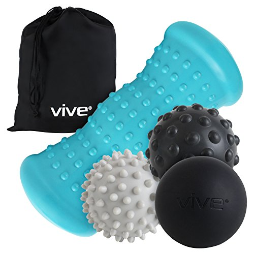 Vive Massage Ball Set (4 Piece) - Foot Pain Hot Cold Therapy Kit - Plantar Fasciitis, Heel Spur, Sore Muscles, Trigger Point - Back, Arm, Neck, Shoulder, Leg Circulation Roller - PT Spike Massager