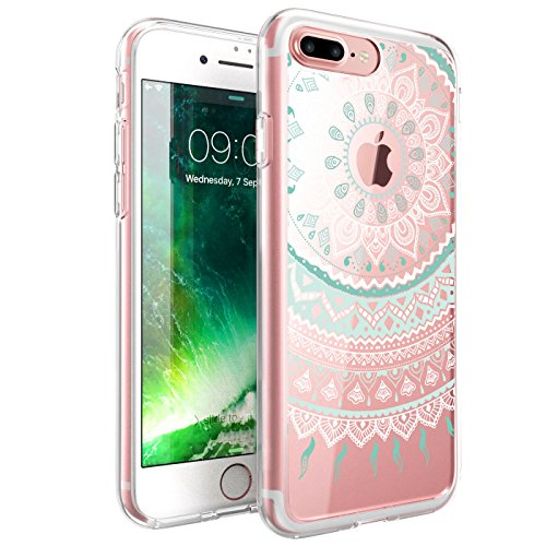 iPhone 8 Plus / iPhone 7 Plus Case, ZUSLAB Mandala Design, Crystal Clear Mandala Pattern, Hard Back Protective Bumper Case For iPhone 8 Plus / iPhone 7 Plus (Mint (Pattern Protective Case)