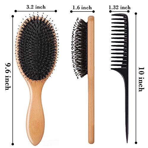 VinkerHairBrush,BoarBristleHairbrushforWet/DryHairSmoothingMassagingDetangling,EverydayBrushEnhanceShine&Health