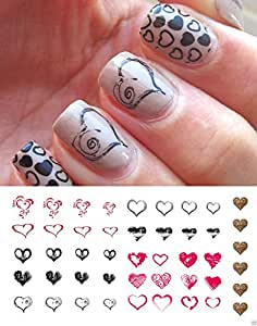 Heart Nail Decals Assortment Water Slide Nail Art Decals - Great for Valentines Day! Salon Quality