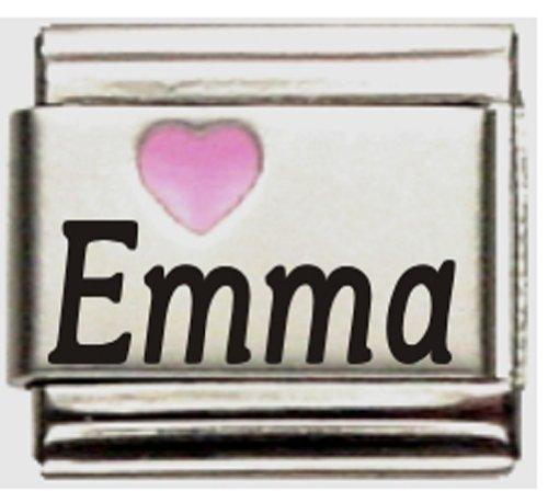 Emma Pink Heart Laser Name Italian Charm Link