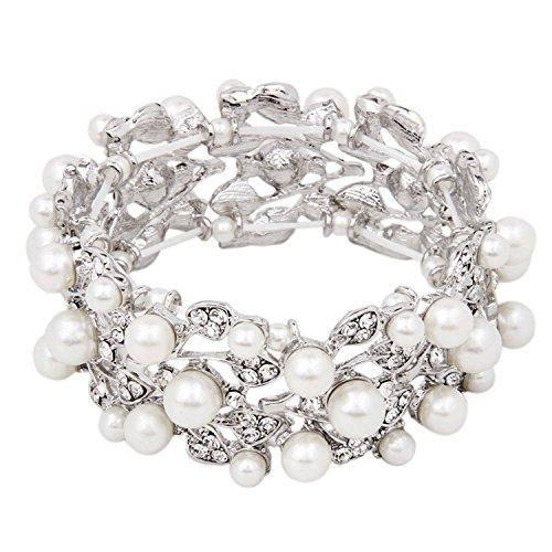 Fairy Moda Vintage Leaf Crystal Bracelet for Women Wedding Bridal Silver Bracelet Simulated Pearl