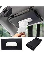 Jiadinglimian Car Tissue Holder, PU Leather Tissue Box, Hanging Paper Towel Clip, Sun Visor Napkin Holder, Car Visor Tissue Holder,Paper Towel Box(Black)