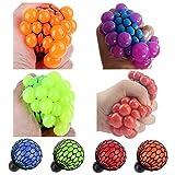 Assortmart Topseller Mesh Ball, Grape Stress Relief Squeezing Hand Wrist Toy Random Color, Pack of 4