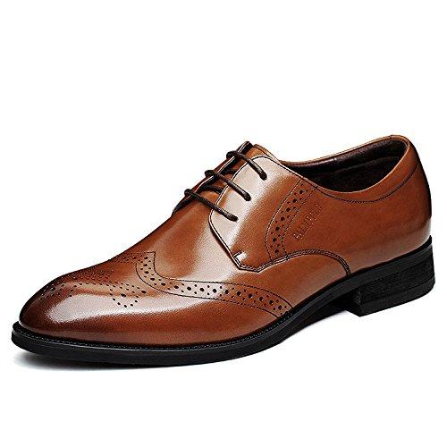 LEDLFIE Bullock Herrenschuhe Aus Geschnitztem Leder Herren Business Formalwear Brown