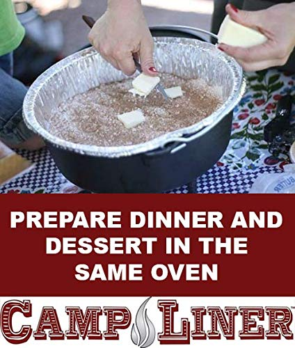 "Campliner Disposable Foil Dutch Oven Liner, 12 Pack 12"" 6Q liners, No more Cleaning or seasoning, perfect accessory. Lodge, Camp Chef by CAMP LINER (Image #2)"