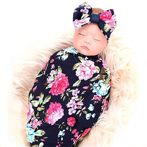 Newborn Receiving Blanket Headband Set Flower Print Baby Swaddle Receiving Blankets ()