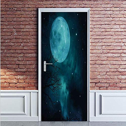 Space Door Wall Mural Wallpaper Stickers,Moon on Starry Sky Universe Cosmos Space Themed Mystical Twilight Celestial Scenery,Vinyl Removable 3D Decals 35.4x78.7/2 Pieces set,for Home Decor Petrol Blue