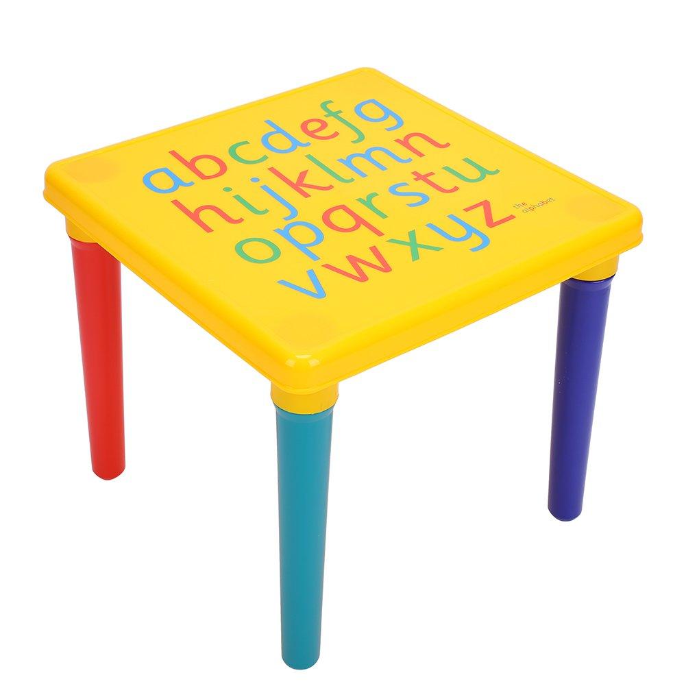 Table et Chaise pour Enfants en Plastique Ensemble Table et Chaise Lettres de lAlphabet en Plastique Bureau dapprentissage Enfant Ensemble de Meubles Stable Garcon Fille Cadeau Educatif Multicolore