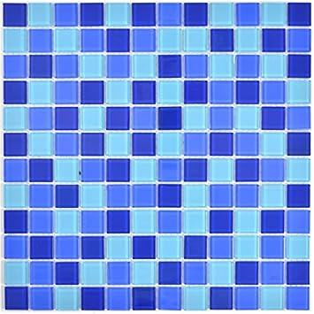 Carrelage mosaïque Translucide Verre Mosaïque Crystal Bleu Miroir ...
