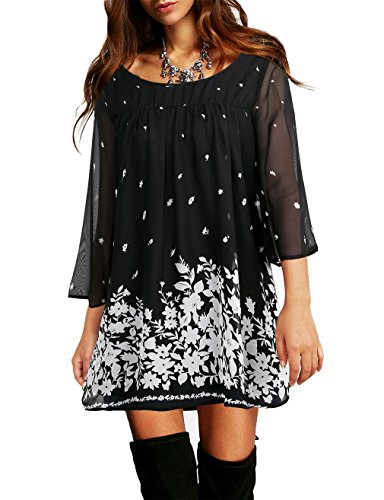 Vivilli Maternity Tops for Women, Ladies Tunic Shirts 3/4 Sleeve Floral Printed Bell Sleeve Curved Hem Loose Fit Chiffon Casual Tops for Women Multicolor Black Medium (Sleeve Maternity Flutter Top)