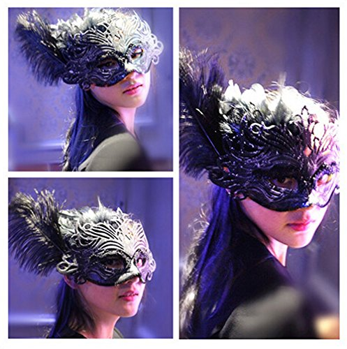 Venetian Black Eye Mask Fancy Dress Accessory w/ Feather Flower Lace Mardi Gras