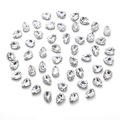 Choupee Crystal Sew On Rhinestone with Silver Prong Setting, Drop Shaped 50pcs Set (Crystal Clear, 14 x 10 MM)