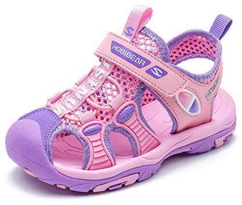 BODATU Boys' Summer Outdoor Beach Sports Closed-Toe Sandals(Toddler/Little Kid/Big Kid)(32, Pink)