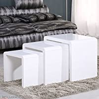 Voilamart 3 Stackable Nesting Tables Set with High Gloss Side, Espresso Coffee Bed Sofa Snack End Tables for Living Room Furniture - Glossy White