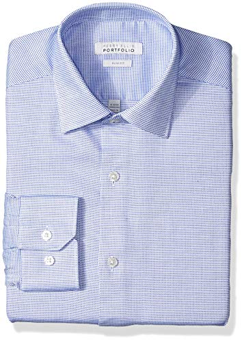 Perry Ellis Men's Slim Fit Wrinkle Free Dress Shirt, Blue Nailshead, 16 32/33 from Perry Ellis