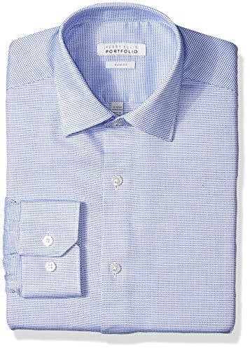 Perry Ellis Men's Slim Fit Wrinkle Free Dress Shirt, Blue Nailshead 16.5 34/35