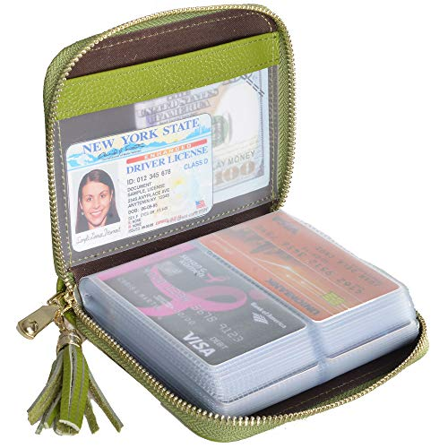 Easyoulife Womens Credit Card Holder Wallet Zip Leather Card Case RFID Blocking (Green)