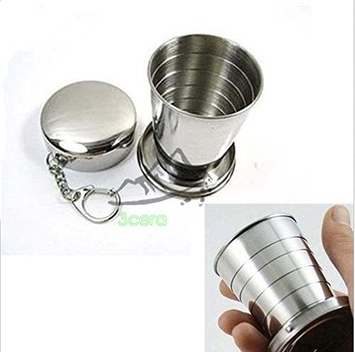3CERA Stainless Steel Portable Outdoor Travel Camping Folding Collapsible Cup Metal Telescopic Keychain 75ml (Schnapps Shot)