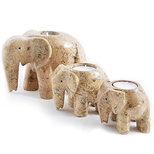 - Set of 3 Hand-Carved Fossilstone Marble Elephant Tea Light Holders - Tea Lights Included