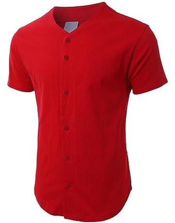 e8012287943 Mens Baseball Team Jersey Button Down T Shirts Plain Short Sleeve Top