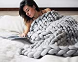 """EASTSURE Bulky Knit Throw Chunky Sofa Blanket Hand-made Super Large Pet Bed Chair Mat Rug Grey 40""""x79"""""""
