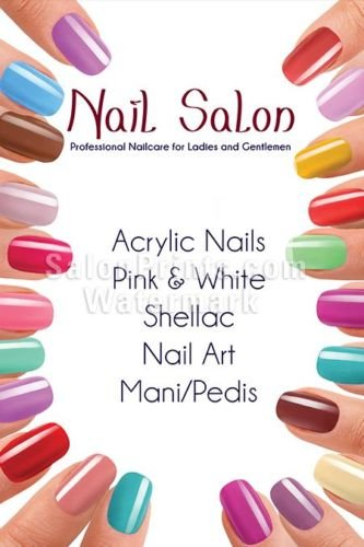 (Global Printing Services Nail Salon Poster - Custom Store Name Nail Salon Manicure Spa Pedicure Acrylic Colorful Poster || NSD-157 (24in x 36in, Mesh Vinyl (See Through)))