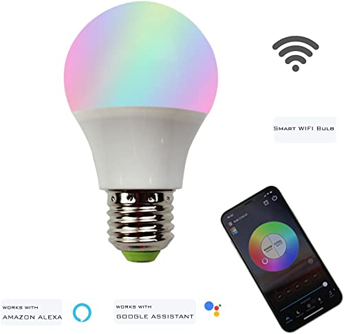 LED WiFi Smart Light Bulb Dimmable Multicolor Sunrise Wake-Up Lights No Hub Required Compatible