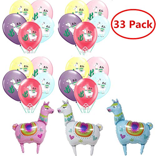 33PCS Llama Cactus Fiesta Party Balloons Decorations, Llama Themed Birthday Party Supplies, 3 Pieces Llama Foil Balloon 30 Pieces Bolivian Peru Alpaca Party Cactus 12 INCH Thick Latex Balloons for Baby Shower Kids Birthday Party Décor