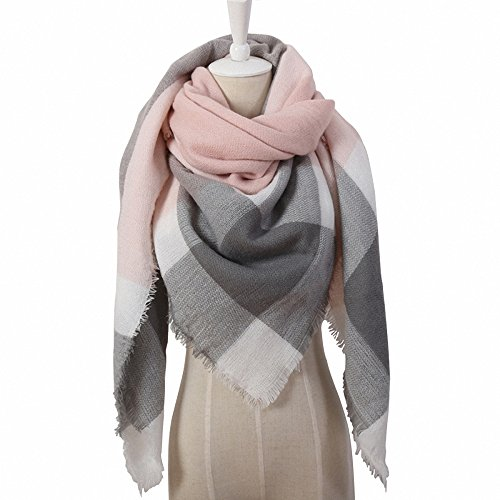 Lictory Winter Triangle Scarf For Women Designer Shawl Cashmere Plaid Scarves Blanket Triangle Pink Grey ()