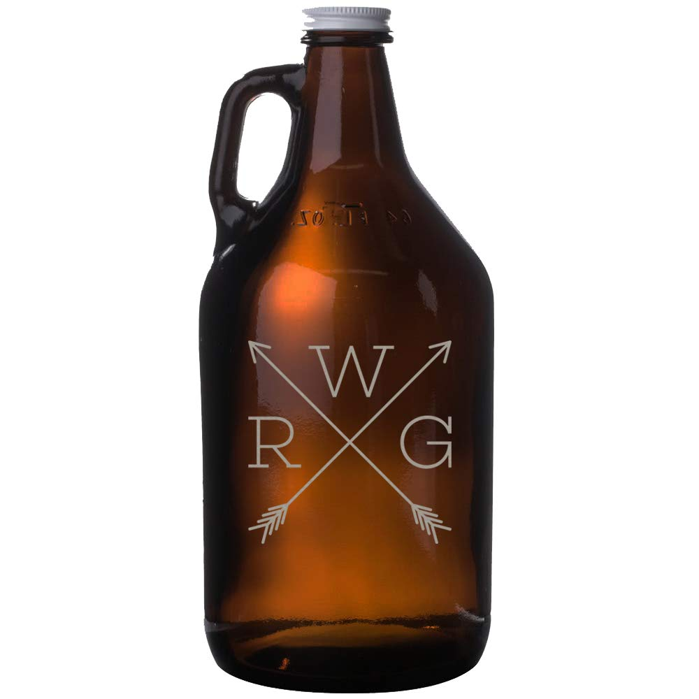 Personalized Etched Monogram 64oz Amber Beer Growler