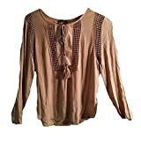 Joseph A. Crinkle Tops with Crochet Detail, New Khaki