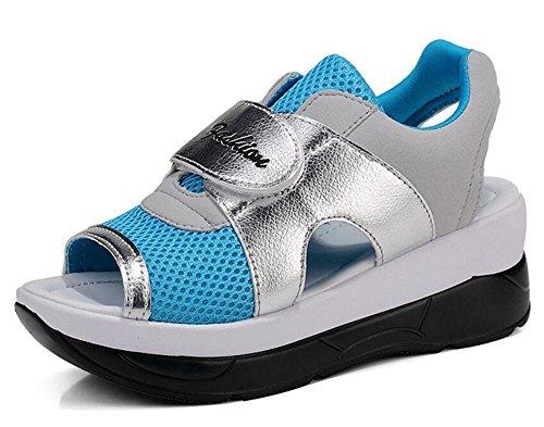 (ホーマイ)HOOMAI サンダル 厚底 レディース ウェッジソール メッシュ pu 切り替え マジックテープ スポーツサンダ 夏 春 ウォーキングシューズ 婦人靴