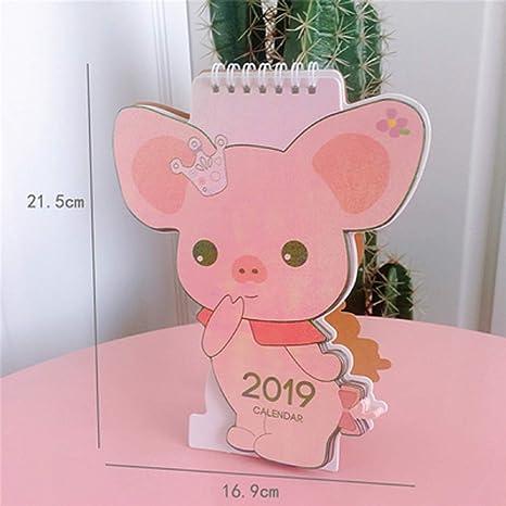 2019 Cute Unicorn Flamingo Pig Laser Mini Table Desktop Calendar Agenda Organizer Daily Schedule Planner 2018.10~2019.12 Calendars, Planners & Cards Calendar