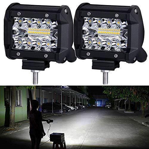 LED Pods,NAO LED Work Light Bar Bulb Spot Flood Lights for Trucks 4inch Led Fog Light Bar for Offroad Town Truck Car ATV Boat SUV 2PCS 140W Triple Row,12-month Warranty
