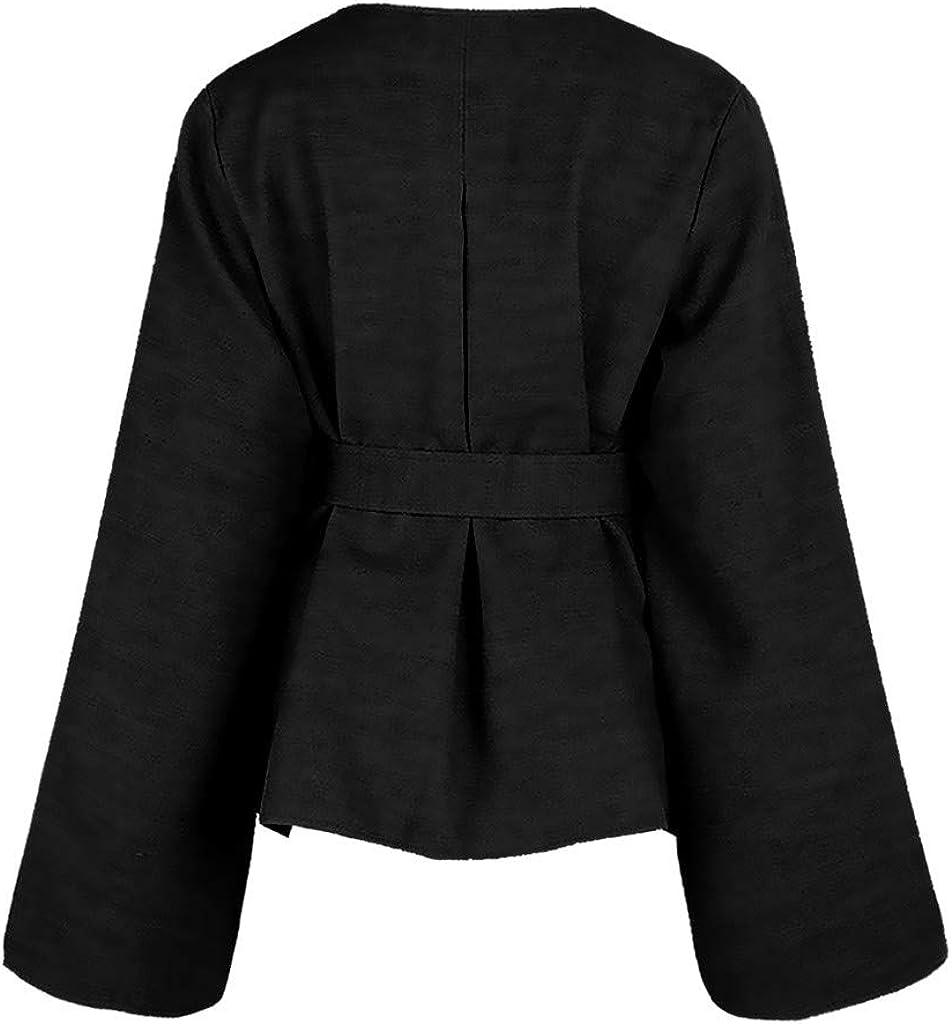 Wenini Women Fashion Open Front Blazer Belted Batwing Sleeve Woollen Trench Coats Cloaks