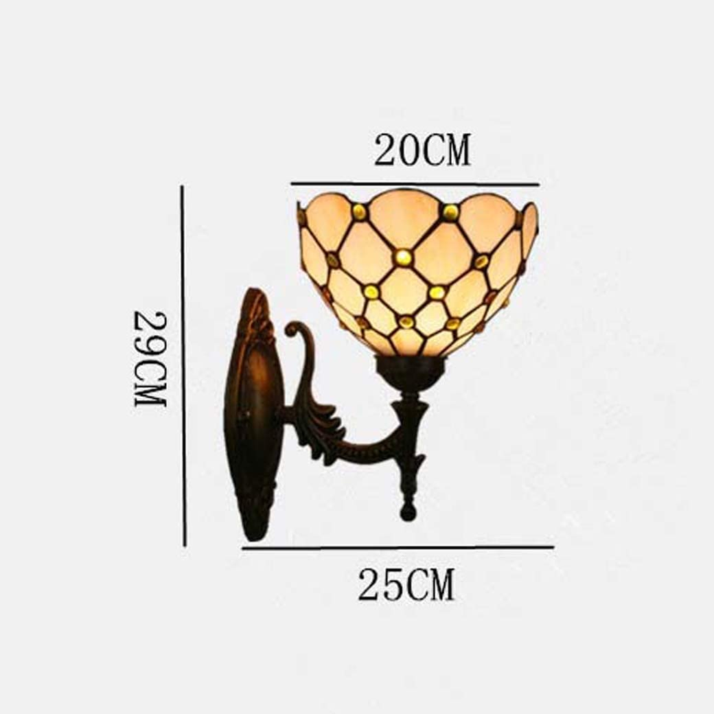 Tiffany Style Wall Lamp, Color Glass Wall Sconces,Bedroom Bedside lamp Corridor Restaurant Wall Light,E27,Max40W GJX (Style : Golden Gemstone Round) Green