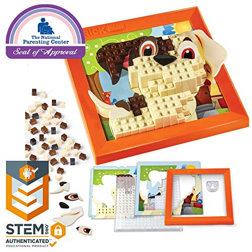 Brick Mates - Stack By Numbers - Puppy - STEM Toy For Kids 5 & Up - 3D Puzzle - Educational Toy - Learning Activity