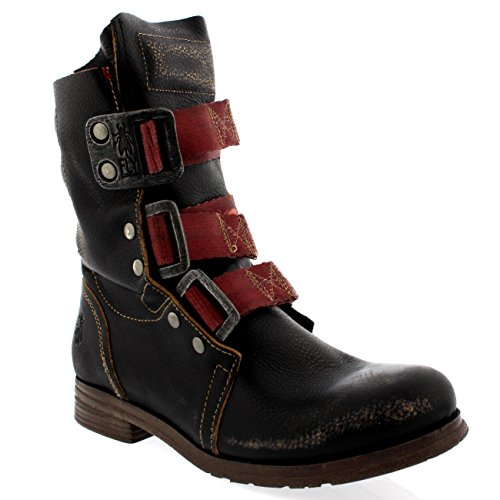 FLY London Womens Stif Leather Pull On Military Biker Buckle Ankle Boots - Black - 7