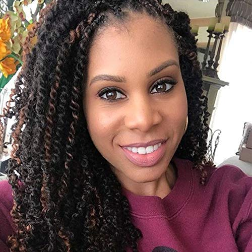 VRUnique 8 Inch 1B# 3 Packs Spring Twist Crochet Hair Wavy Braids Soft Synthetic Jamaican Bounce Twist Braiding Crochet Hair Extensions High Temperature 30 Roots/Pack